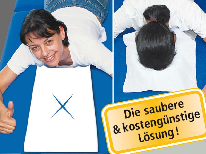 «Favorit-X» 1'000 Stk. Kopfteil-Einwegauflagen mit X-Schlitz, Sparpackung à 10x 100 Stk. - CE -